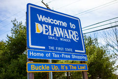 Welcome to Delaware First State Sign Stock Images