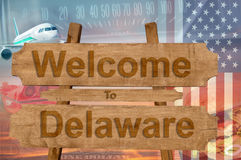 Welcome to Delaware in USA sign on wood, travell theme Stock Photography