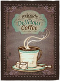 Welcome to delicious coffee vintage menu. Stock Image