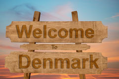 Welcome to Denmark sing on wood background with blending Stock Image