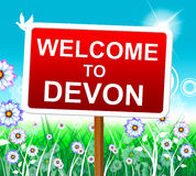 Welcome To Devon Indicates United Kingdom And Arrival Royalty Free Stock Image