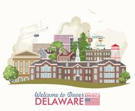 Welcome to Dover. Delaware vector illustration with colorful detailed landscapes in modern flat design. Delaware vector illustration with colorful detailed Vector Illustration