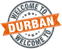 Welcome to Durban orange round stamp Stock Images