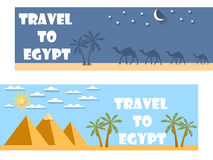 Welcome to Egypt. Flat travel banner. Tourism. Banners with symbols of Egipt, and text Royalty Free Stock Images