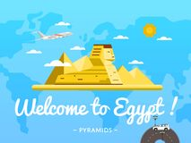 Welcome to Egypt poster with famous attraction Royalty Free Stock Photography