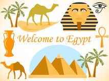 Welcome to Egypt. Symbols of Egypt. Tourism and adventure. Travel to Egypt. Symbols of Egypt. Tourism and adventure. Characters and sights of Egypt Stock Photos