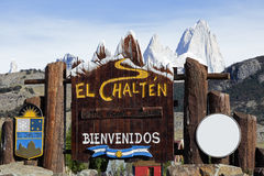 Welcome to El Chalten sign stock photos