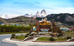 Welcome to El Chalten village sign. Fitz Roy stock image