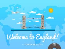 Welcome to England poster with famous attraction Stock Photography