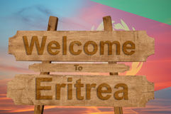 Welcome to Eritrea sing on wood background with blending national flag Stock Photos