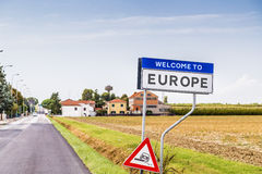Welcome to europe fake sign Royalty Free Stock Images