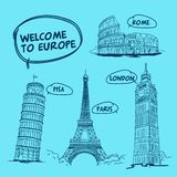 Welcome to Europe pisa rome London paris Eiffel tower royalty free illustration