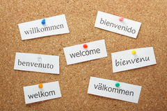 Welcome to Europe. The word Welcome translated into the principal languages of western and northern Europe pinned on a cork notice board Royalty Free Stock Photography