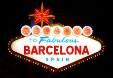 Welcome to Fabulous Barcelona. At night Royalty Free Stock Image