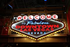 Welcome to Fabulous Downtown Las Vegas sign at Fremont Street Stock Photography