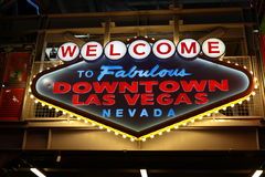 Welcome to Fabulous Downtown Las Vegas sign at Fremont Street Royalty Free Stock Photography