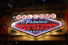 Welcome to Fabulous Downtown Las Vegas sign Royalty Free Stock Photos