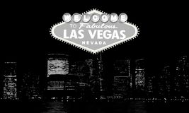 Welcome to Fabulous Las Vegas Nevada. Classic retro Welcome to Las Vegas sign on big city background. Simple modern vector illustration