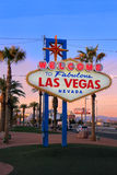 Welcome to Fabulous Las Vegas sign at night, Nevada Stock Photography