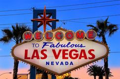 Welcome to Fabulous Las Vegas sign at night, Nevada Royalty Free Stock Image