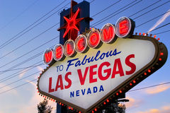 Welcome to Fabulous Las Vegas sign at night, Nevada Stock Photos