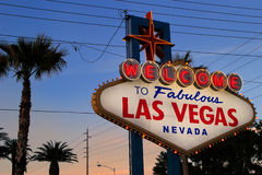 Welcome to Fabulous Las Vegas sign at night, Nevada Royalty Free Stock Photos