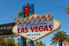 Welcome to Fabulous Las Vegas sign at the south end of world famous Las Vegas strip. Las Vegas, Nevada - May 29, 2018 : Welcome to Fabulous Las Vegas sign at the Stock Photo