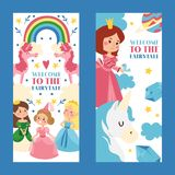 Welcome to fairytale set of banners vector illustration. Little princess girls in evening gowns. Fashionable ladies in. Dresses with crowns, costumes. Rainbow vector illustration