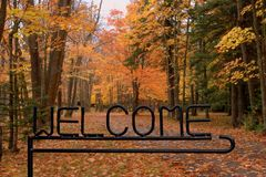 Welcome to fall. Welcome sign welcomes to the fall season stock image