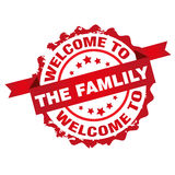 Welcome to the family. Stamp sign seal logo isolated on white background vector illustration