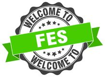 Welcome to Fes seal. Welcome to Fes round vintage seal royalty free illustration