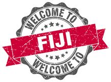 Welcome to Fiji seal. Welcome to Fiji round vintage seal Stock Photos