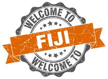 Welcome to Fiji seal. Welcome to Fiji round vintage seal Royalty Free Stock Photos