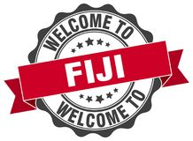 Welcome to Fiji seal. Welcome to Fiji round vintage seal Stock Images
