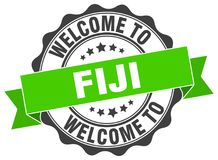 Welcome to Fiji seal. Welcome to Fiji round vintage seal Royalty Free Stock Photo