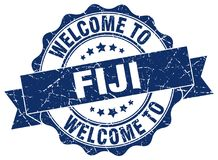 Welcome to Fiji seal. Welcome to Fiji round vintage seal Stock Photography