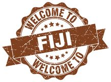 Welcome to Fiji seal. Welcome to Fiji round vintage seal Stock Image