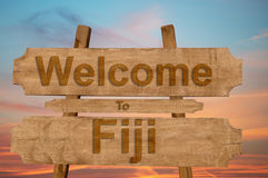 Welcome to Fiji sing on wood background Royalty Free Stock Photography