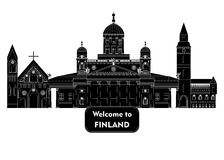 Welcome to finland. Illustration in style of flat design on the theme of finland Stock Photos