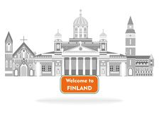 Welcome to finland. Illustration in style of flat design on the theme of finland Royalty Free Stock Image