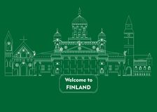Welcome to finland. Illustration in style of flat design on the theme of finland Royalty Free Stock Photo