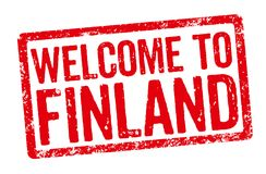 Welcome to Finland. Red stamp on a white background - Welcome to Finland Stock Photos