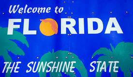 Welcome to Florida sign. The Sunshine State Royalty Free Stock Image