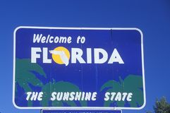 Welcome to Florida Sign Stock Image