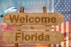 Welcome to Florida in USA sign on wood, travell theme Stock Images