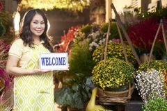 Welcome to flower shop stock images