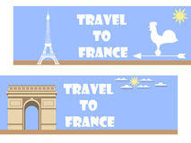 Welcome to France. Banner in a flat style. Tourism. Banners with symbols of France, and text Royalty Free Stock Photos