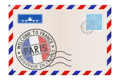 Welcome to France. Colored tourist stamp PARIS with national flag. International air mail envelope. Vector 3d illustration isolated on white background Royalty Free Stock Photos