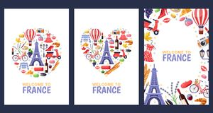 Welcome to France greeting souvenir cards, print or poster design template. Travel to Paris flat illustration. stock illustration
