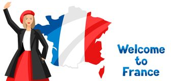 Welcome to France. Illustration of Frenchwoman on map background Royalty Free Stock Photos